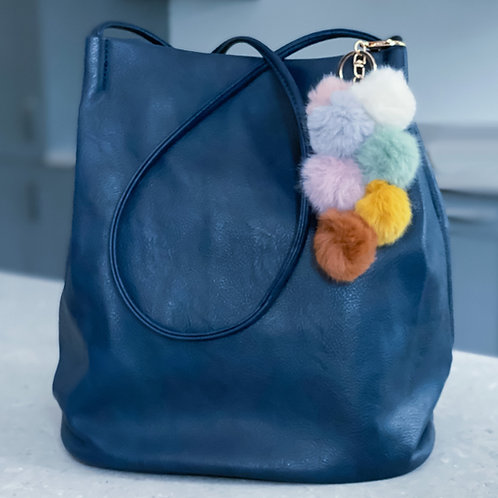 Pom Pom Duffle Bag - Navy