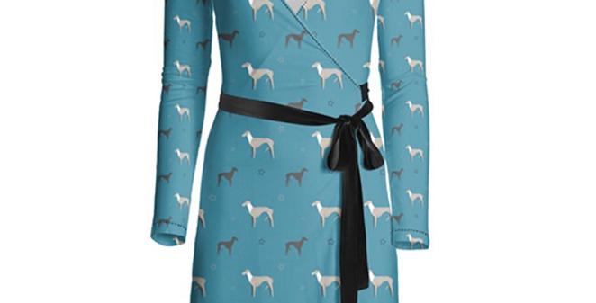 Multi Print Wrap Dress - Whimsical Whippets