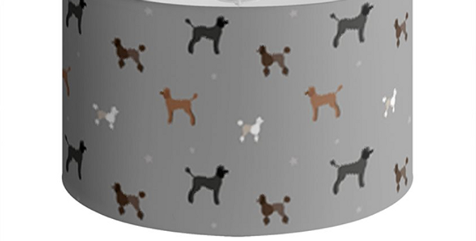 Large Round Ceiling Shade - Poodles