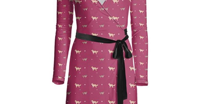 Multi Print Wrap Dress - Cute Cavapoos