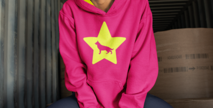 Bright Star Pink/Neon Yellow Hoodie - ANY BREED