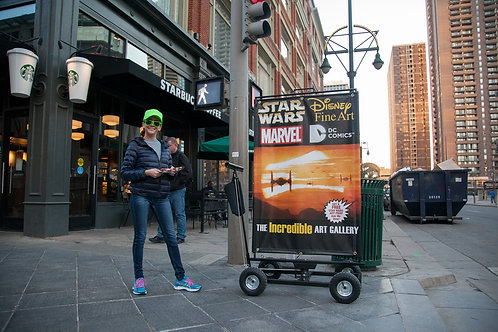 (Rotating/Large) Rolling Billboard Cart