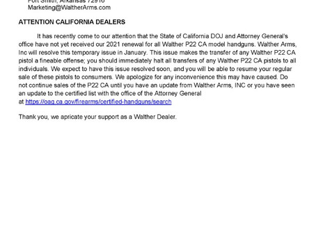 Important notice from Walther