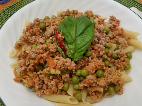 Homemade penne rigate with ground turkey and heirloom tomato sauce recipe