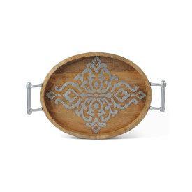 """20.75""""L Wood/Metal Oval Tray"""
