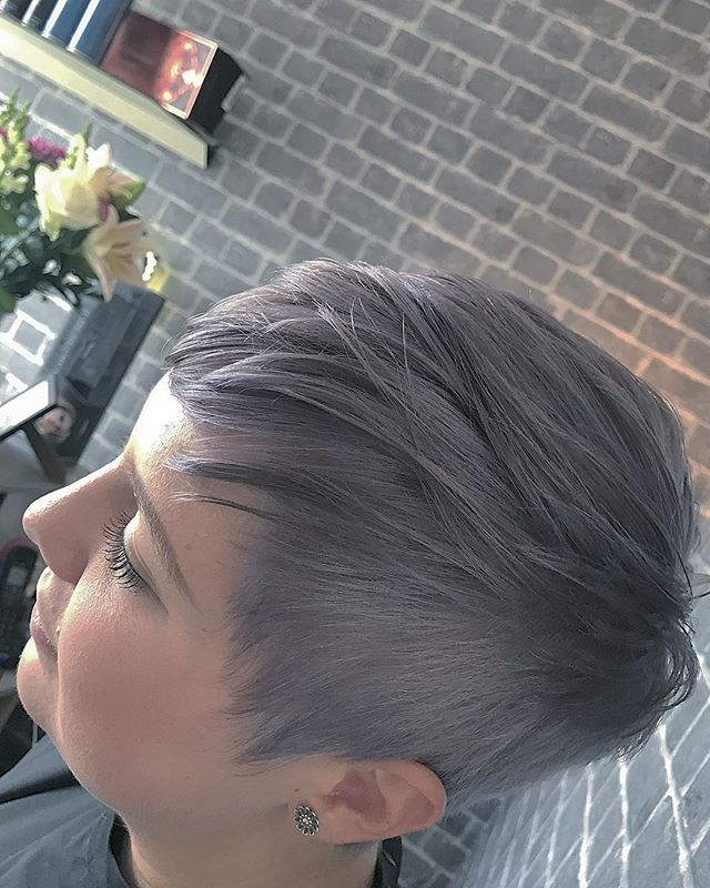 Grey Pixie cut today for _apes_coops 💁__Colour by Jill _Cut and style by lawson