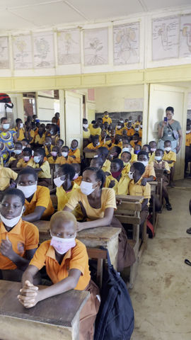 Ghanian Teacher Reads Adventures with Mariah To Class in English and Fantu