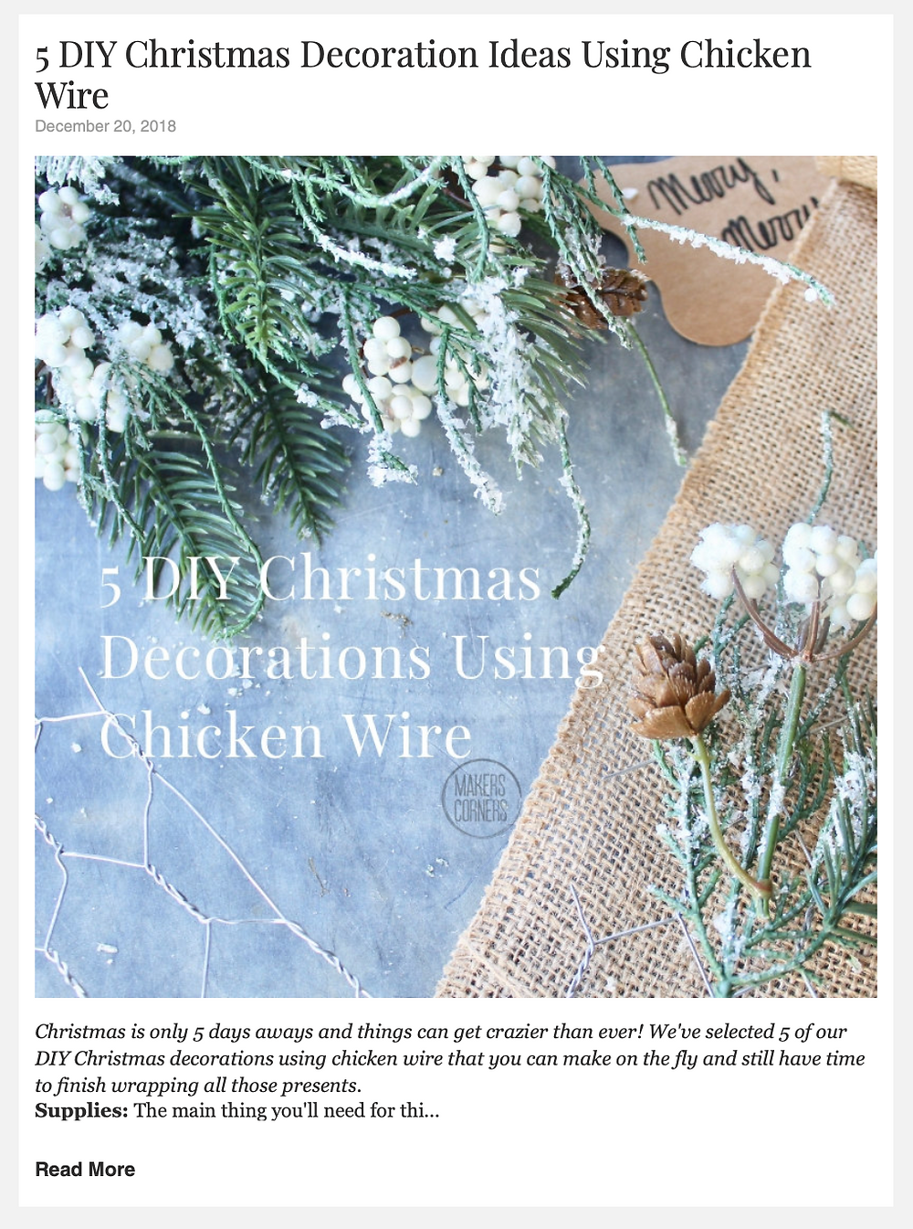 5 DIY Christmas Ideas Using Chicken Wire
