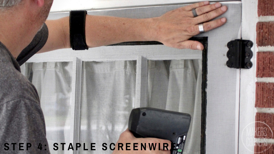 Staple Screenwire to trim