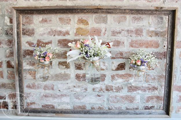 DIY: Mason Jar Flowers on Chicken Wire Frame Display