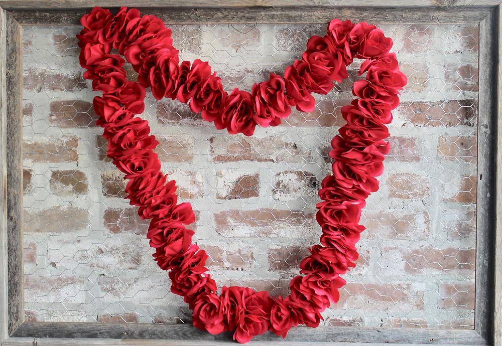 Valentine's Day Flower Heart Display on Chicken Wire Frame