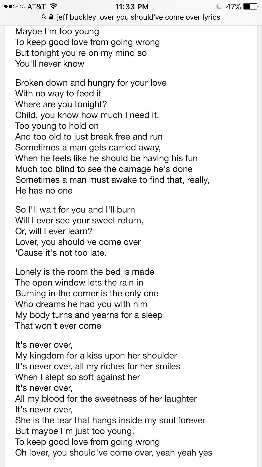 lyrics to a corny Jeff Buckley song