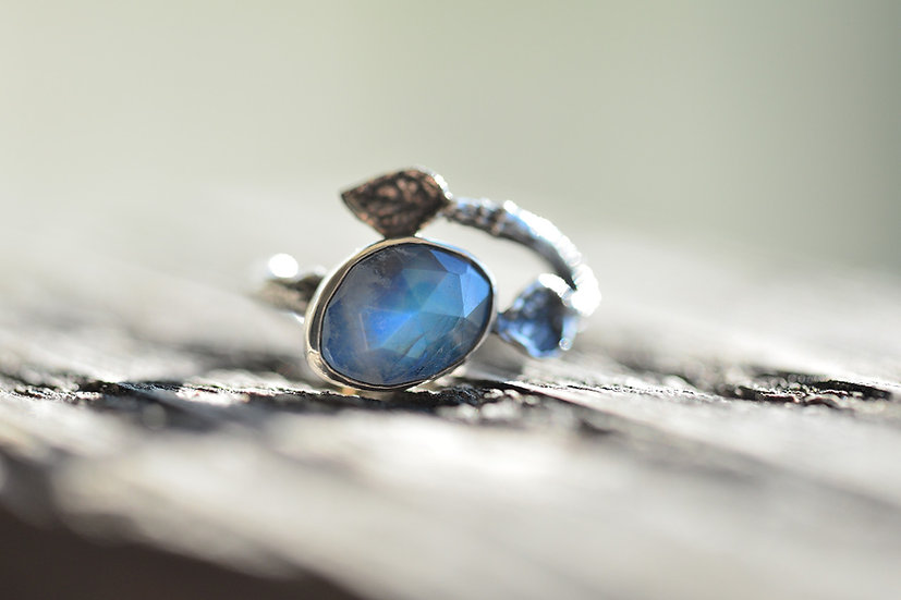 Moonstone Budding Branch Ring - Sterling Silver - Size 5.75