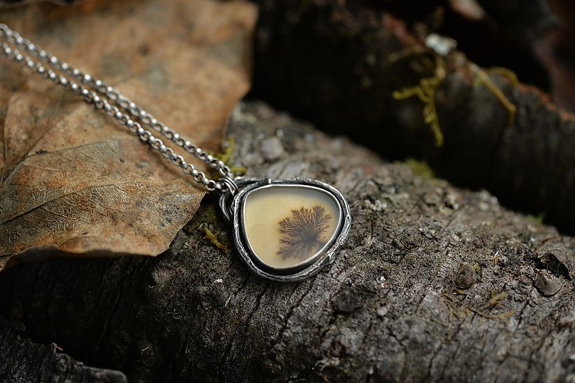 Dendritic Agate & Fern Necklace - Sterling Silver