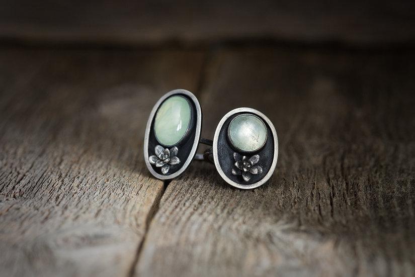 Garden Green Rings - Prehnite & Sterling Silver Succulents