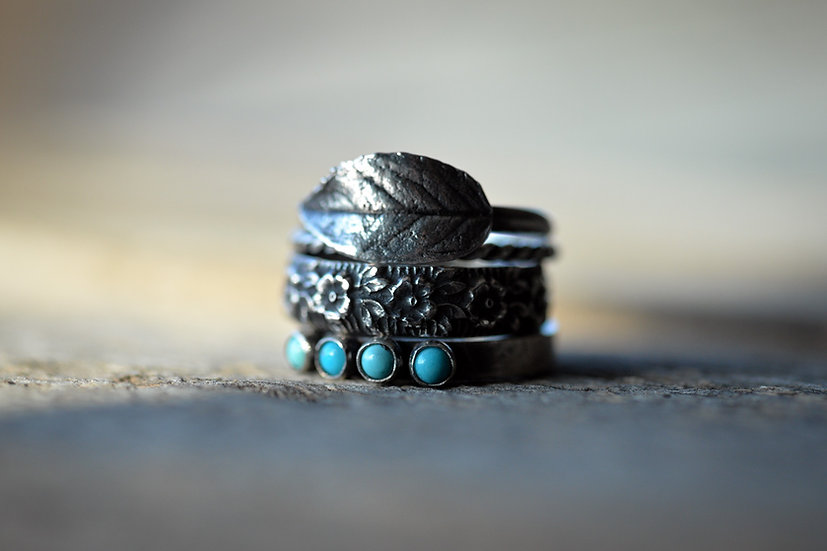 Sterling Silver & Turquoise Leaf Stacking Ring Set - Size 7