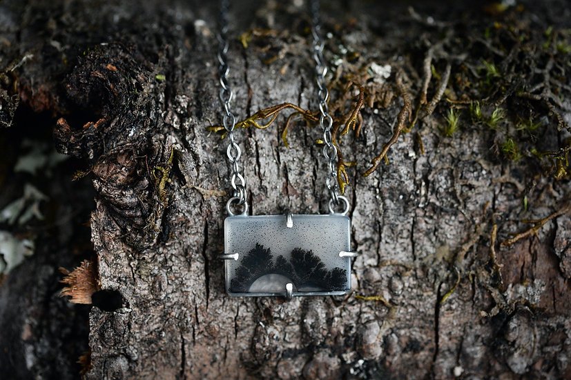 Dendritic Agate Transparent Treeline Necklace - Sterling Silver