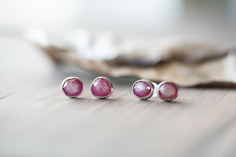 Pink Sapphire Gemstone Studs - Sterling Silver