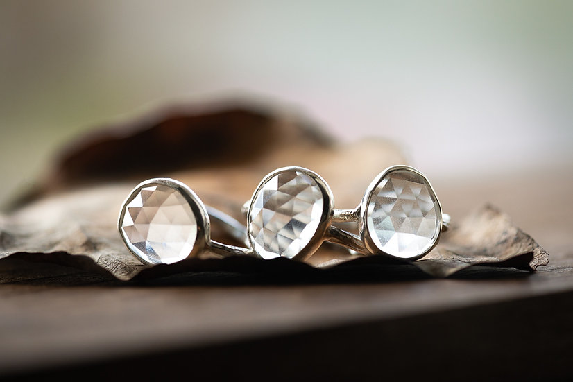 Crystal Quartz Open Back Twig Rings - Sterling Silver