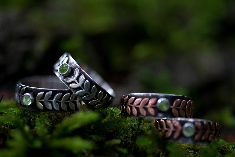 Woodland Rings with Peridot - Sterling Silver & Copper Accents