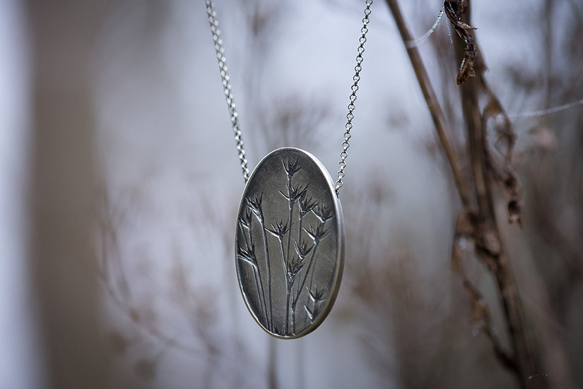 Summer Grass Hollow Form Pendant - Sterling Silver