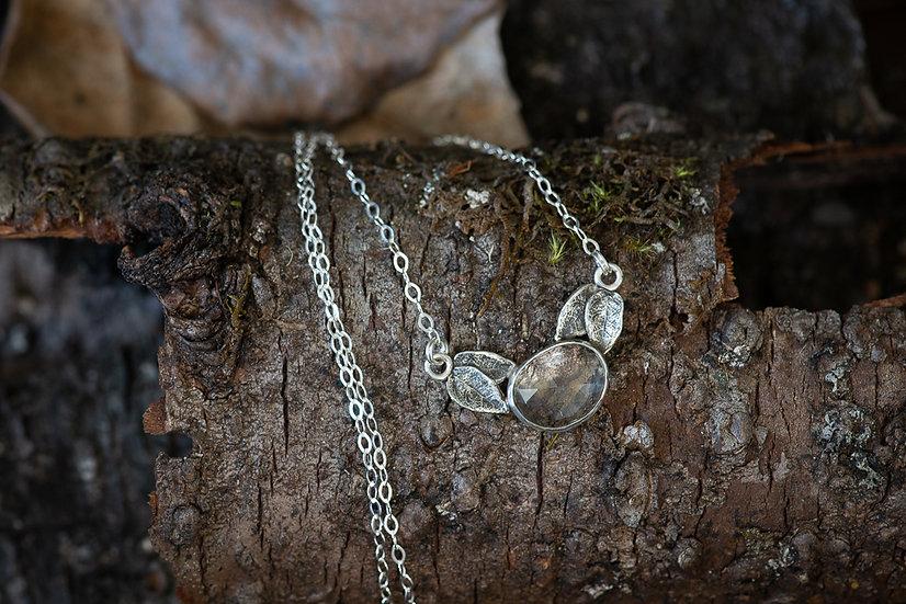 Crystal Quartz Open Back Leaf Necklace - Sterling Silver