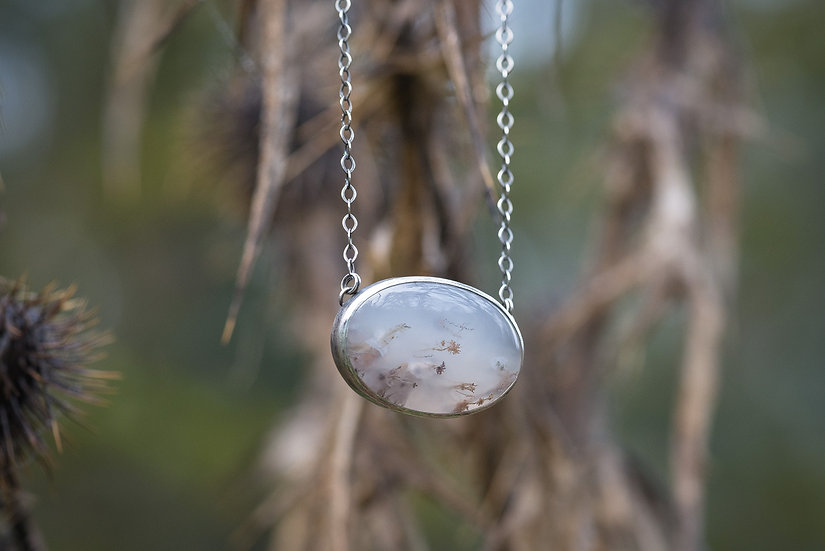 Moss Agate Pendant Necklace - Sterling Silver