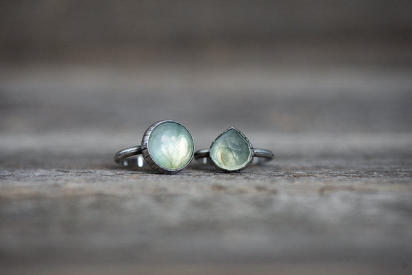 Rose Cut Prehnite Rings in Sterling Silver