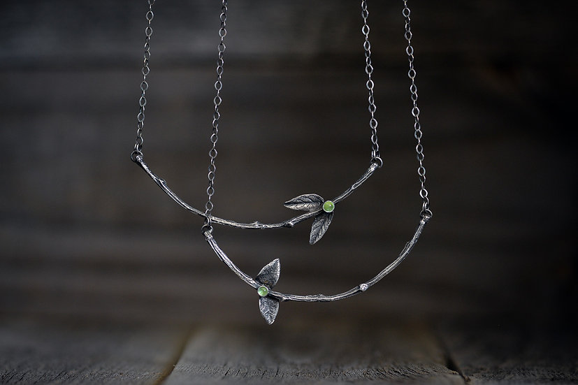 Peridot & Sterling Silver Twig Necklaces