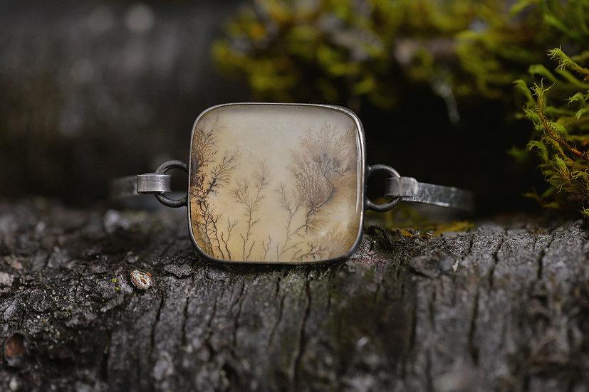 Dendritic Agate & Quartz Tension Cuff Bracelet