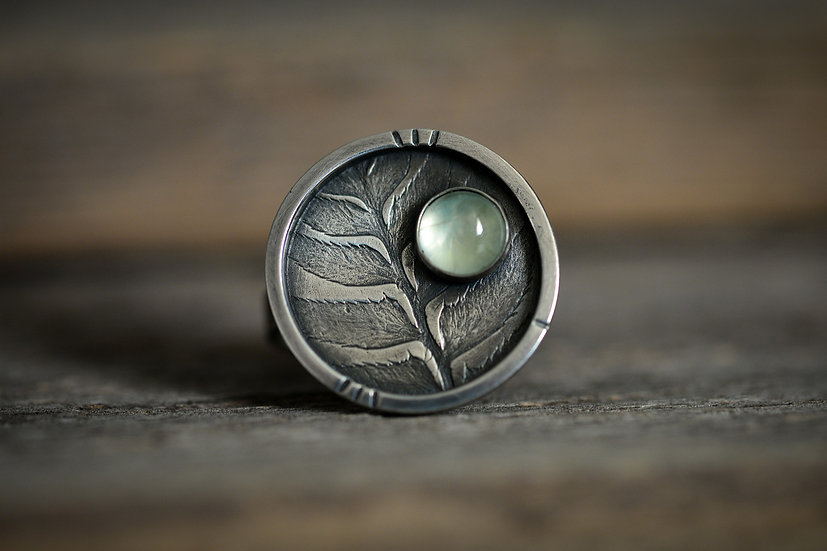 Prehnite & Fern Imprinted Ring - Sterling Silver - Size 6.5