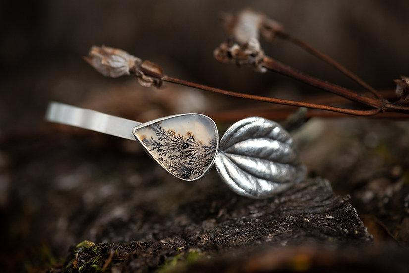 Dendritic Agate & Leaf Cuff Bracelet - Sterling Silver