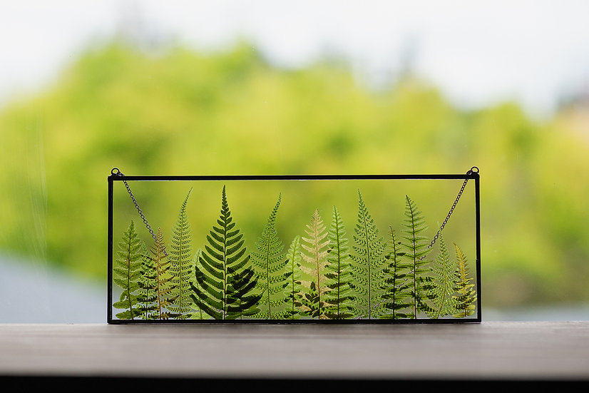 """Fern Forest - Stained Glass UV Frame - 4x10"""" Rectangle (#5)"""