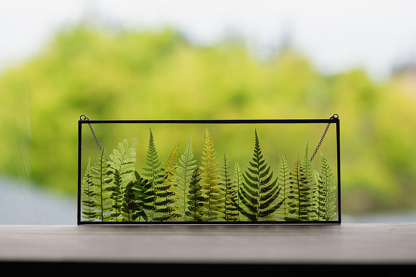 """Fern Forest - Stained Glass UV Frame - 4x10"""" Rectangle (#4)"""
