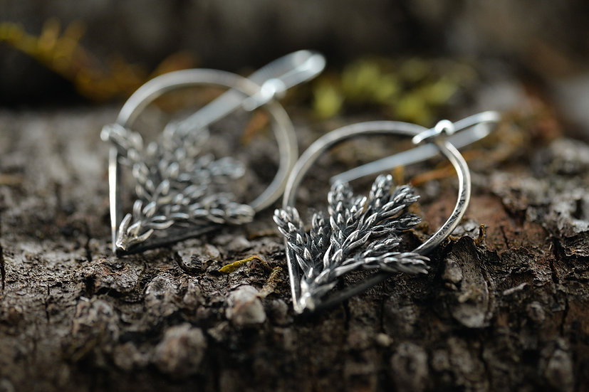 Evergreen Sprig Earrings - Sterling Silver