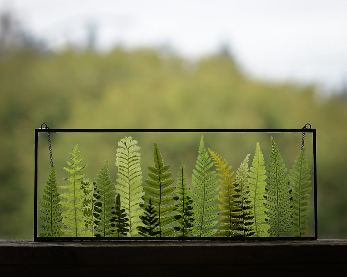 """Fern Forest - 10x4"""" Rectangle Stained Glass Float Frame (#4)"""