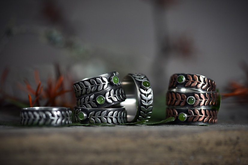Woodland Rings with Peridot - Sterling Silver & Copper Accents (8 available)