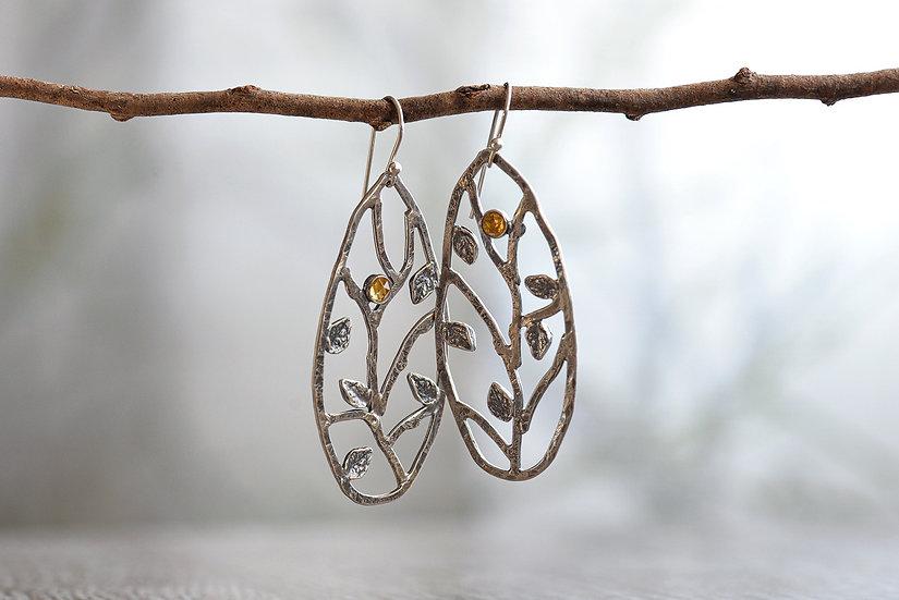 Meadow Earrings with Citrine - Teardrop - Sterling Silver