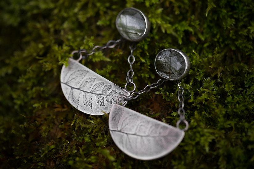 Green Rutilated Quartz & Fern Impressed Earrings - Sterling Silver