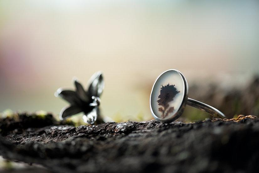 Hyacinth & Dendritic Agate Reverse Cuff Bracelet - Sterling Silver