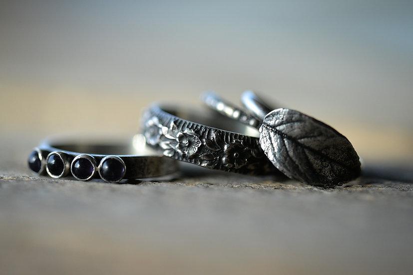 Sterling Silver & Amethyst Leaf Stacking Ring Set - Size 6