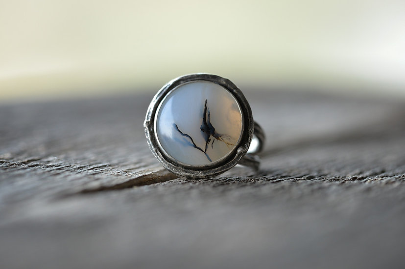 Dendritic Agate Twig Ring - Sterling Silver - Size 6.5