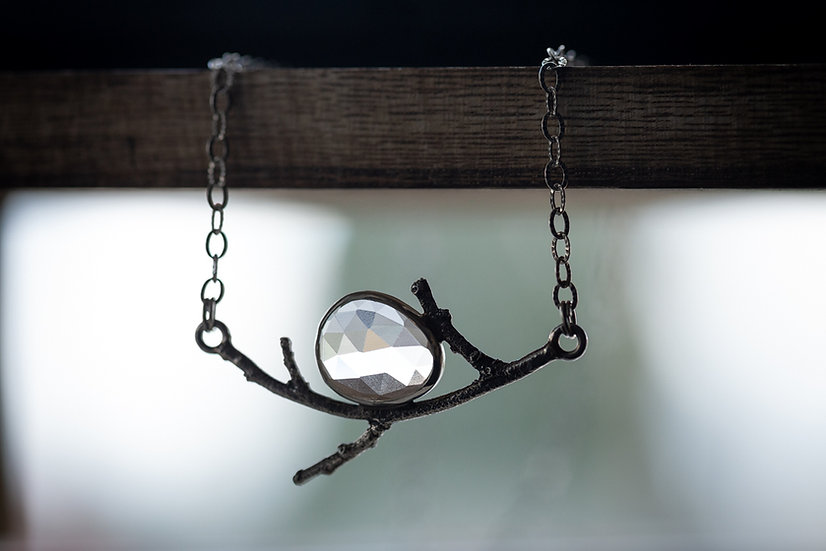 Crystal Quartz Open Back Branch Necklace - Sterling Silver