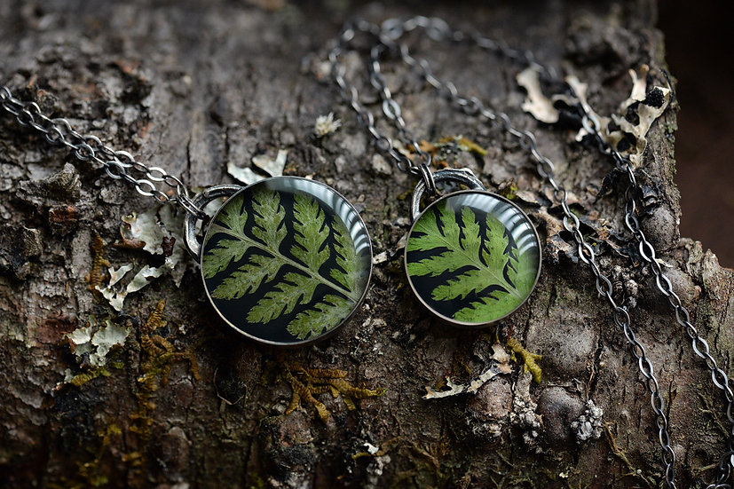 Double-sided Fern Pendant Necklaces - Sterling Silver