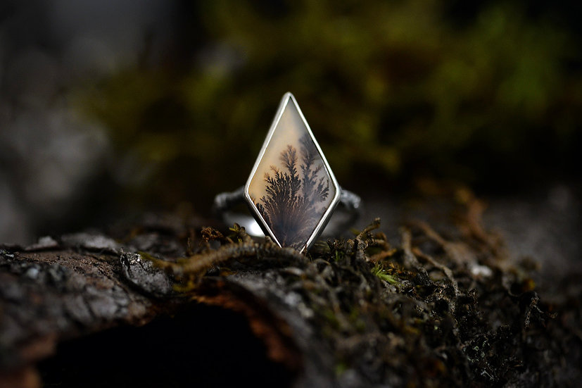 Dendritic Agate Forest Ring - Sterling Silver - Size 7