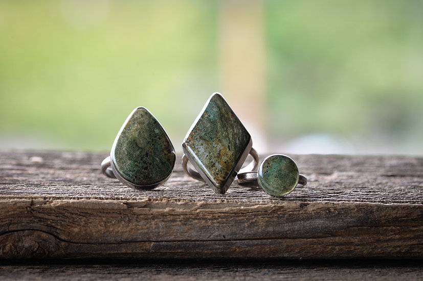 Porphyritic Tuff Rings in Sterling Silver