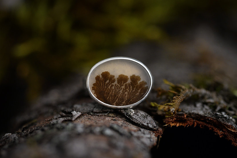 Dendritic Agate Ring - Sterling Silver - Size 6.75