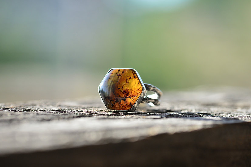 Autumn Amber & Twig Ring - Sterling Silver - Size 6.5