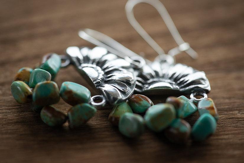 Zinnia and Turquoise Earrings - Fine Silver