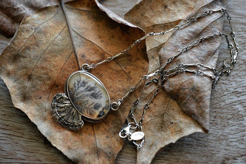 Dendritic Agate & Quartz Turkey Tail Necklace - Sterling Silver